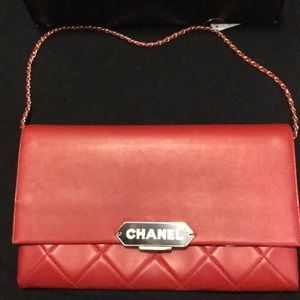 Chanel dark red clutch